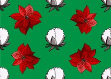 Poinsettia and cotton christmas pattern vector illustration